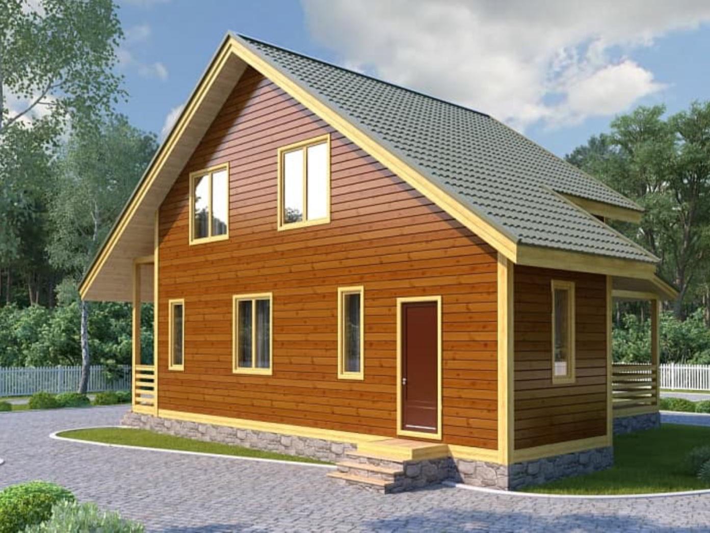 Каркасный дом с двухскатной крышей